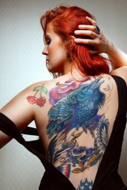 Beautiful sexy glamorous girl with tattoos. tattoos.
