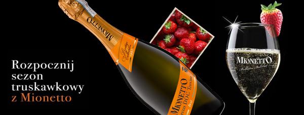 Truskawki i wino musujące Mionetto Porsecco