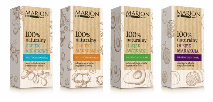 Seria wielozadaniowych Olejków Marion Eco do pielęgnacji włosów, twarzy i ciała