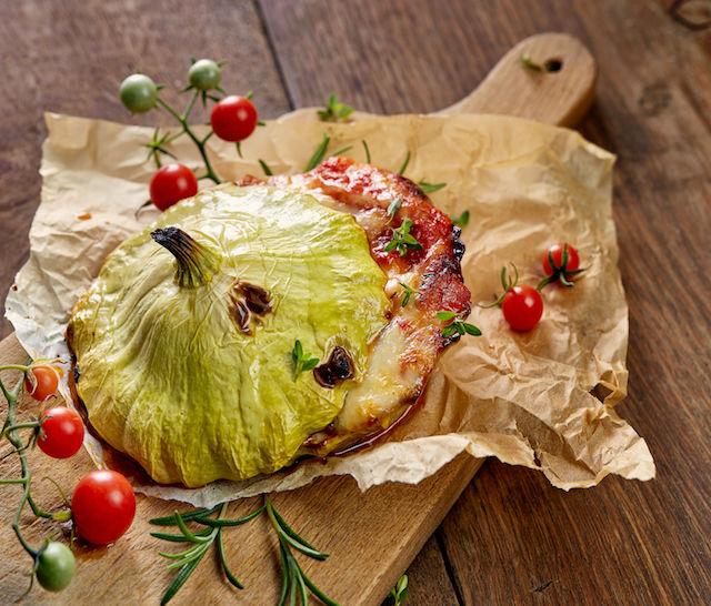 Patisony faszerowane pomidorami i serem morskim